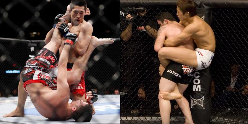 김동현 선수의 강점은 상대에게 붙어서 싸울 때 나온다. ©spotv.com