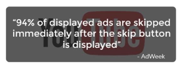 건너뛰기 버튼이 나타나면 광고의 94%는 바로 건너뛰기 된다. ⓒAdweek